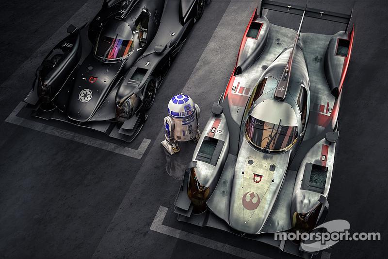 R2-D2 bekijkt de ORECA 05 van de Dark Side en de X-wing