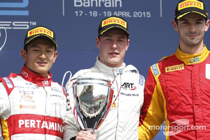 Podium: 1. Stoffel Vandoorne, ART Grand Prix; 2. Rio Haryanto, Campos Racing, und 3. Alexander Rossi