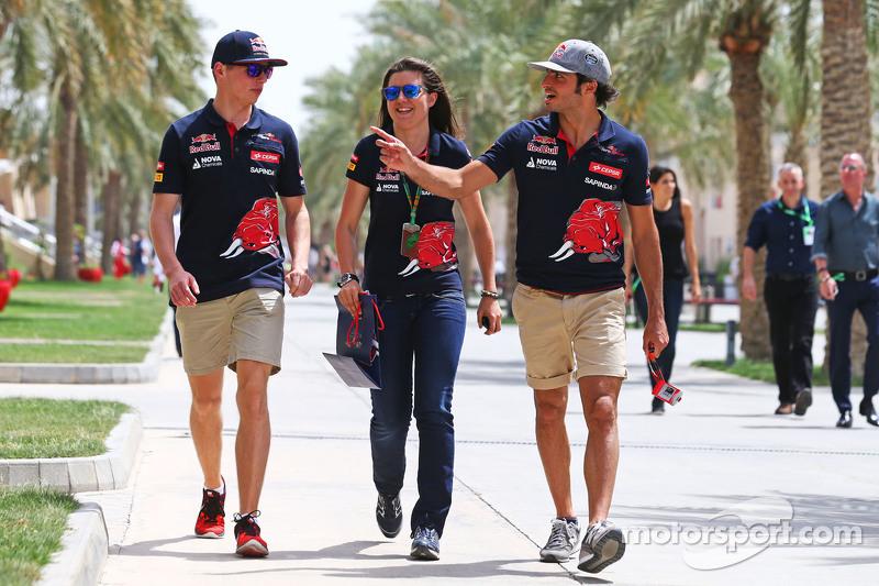 Max Verstappen, dan Tabatha Valls, dan Carlos Sainz Jr., Scuderia Toro Rosso