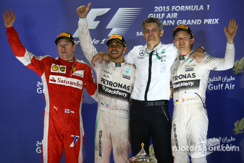 Podium: second place Kimi Raikkonen, Ferrari and winner Lewis Hamilton and second place Nico Rosberg, Mercedes AMG