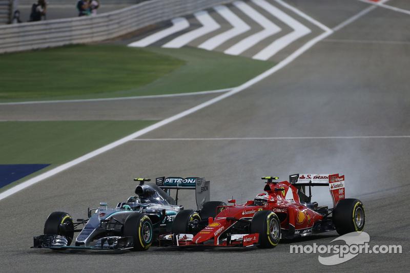 Ніко Росберг, Mercedes AMG F1 W06 блокує колеса на гальмуванні коли була - боротьба за позиції з Кім