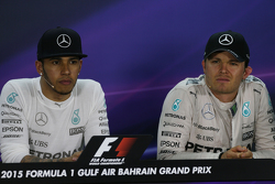 Lewis Hamilton, Mercedes AMG F1 with team mate Nico Rosberg, Mercedes AMG F1 in the FIA Press Conference