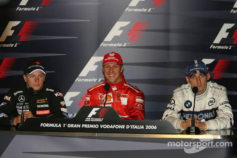 FIA press conference: race winner Michael Schumacher with Kimi Raikkonen and Robert Kubica