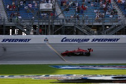 Wade Cunningham takes the checked flag of the Chicagoland 100