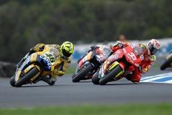 Valentino Rossi and Marco Melandri battle