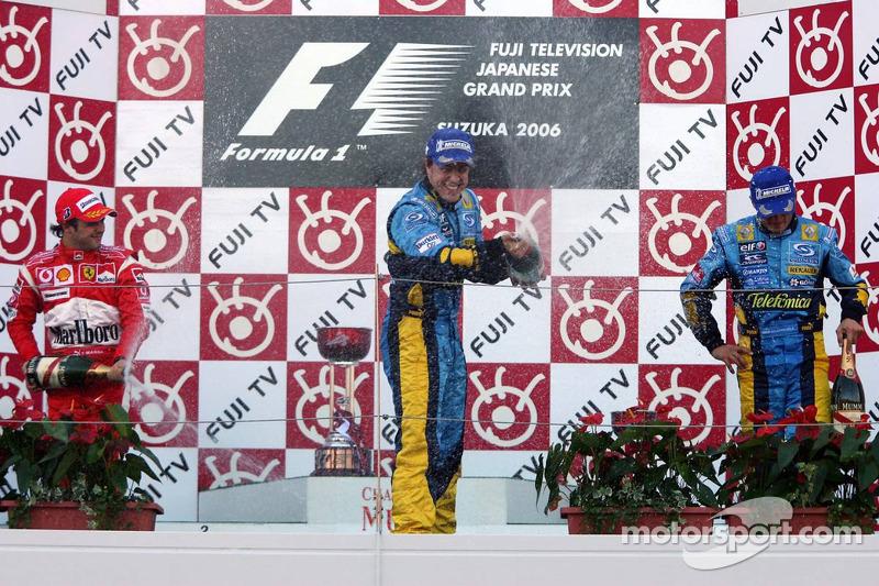 2006 Podium: Fernando Alonso Renault. 2. Felipe Massa, Ferrari 3. Giancarlo Fisicehlla, Renault