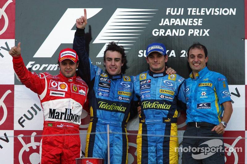 2006: 1. Fernando Alonso, 2. Felipe Massa, 3. Giancarlo Fisichella