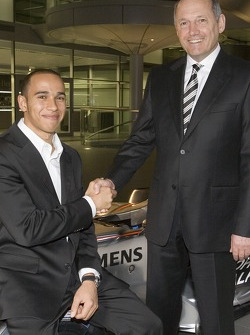Lewis Hamilton and Ron Dennis at the McLaren Technology Centre