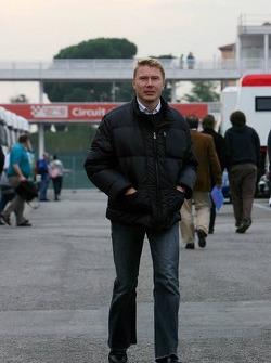 Mika Hakkinen arrives at the circuit