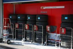 Tyres warming outside Scuderia Ferrari