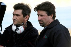 Michael Andretti father of Marco Andretti watches with Jacky Eaklehardt