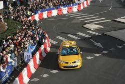 Heikki Kovalainen does a run in a Renault Clio Cup