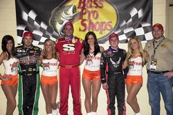 Shane Cottle, winner of Thursday night's Bass Pro Shops Qualifying feature is flanked by runner-up Justin Allgaier and third-place finisher J.J. Yeley