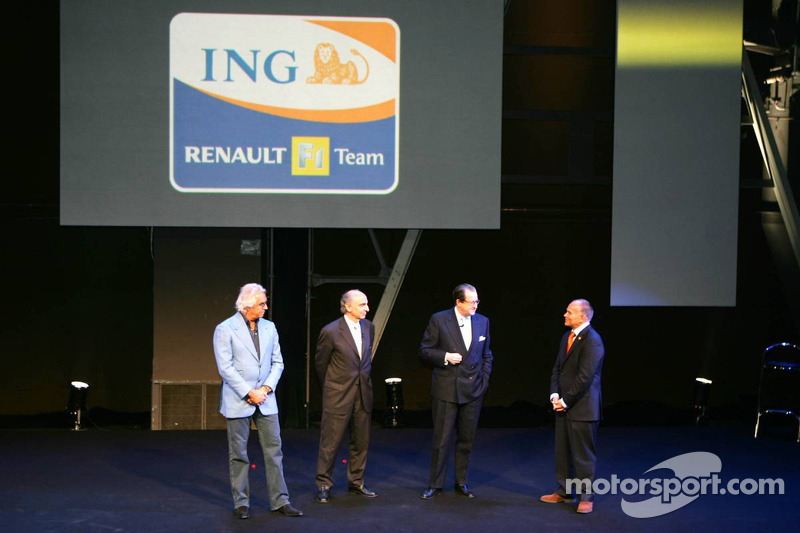 From left to right: Flavio Briatore, Managing Director Renault F1 Team, Alain Dassas, President Renault F1 Team, Michel Tilmant, Chairman of the Executive Board of ING