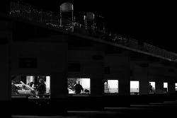 Garage activity at night