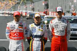 Die 3 F1-Neulinge 2007: Lewis Hamilton, McLaren-Mercedes; Heikki Kovalainen, Renault F1 Team; Adrian Sutil, Spyker F1 Team