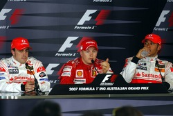 Press conference: race winner Kimi Raikkonen with Fernando Alonso and Lewis Hamilton