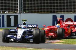 Alexander Wurz, Williams F1 Team, FW29 leads Felipe Massa, Scuderia Ferrari, F2007