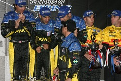 P2 podium: class winners Bryan Herta, Dario Franchitti and Tony Kanaan with Michael Andretti