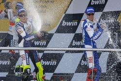 Podium: champagne for Valentino Rossi, Dani Pedrosa and Colin Edwards