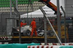 Engine failure at the car of Nick Heidfeld, BMW Sauber F1 Team