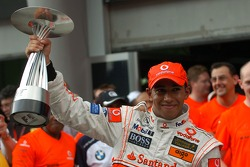 Victory celebration at McLaren: Lewis Hamilton