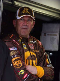 Dale Jarrett waits on the rain to quit