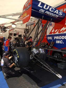 Morgan Lucas' crew works on the car between qualifying rounds