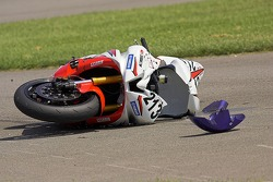 David Anthony's Yamaha after crashing at turn one during Sunday's Supersport Race at California Speedway