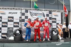 Podium: second place Carl Skerlong, winner Raphael Matos and third place James Hinchcliffe