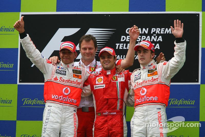 2007: 1. Felipe Massa, 2. Lewis Hamilton, 3. Fernando Alonso