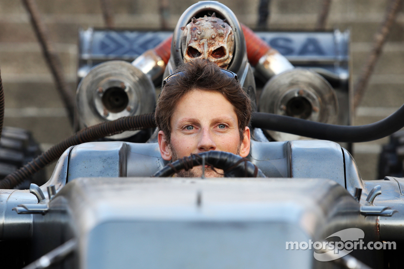 Romain Grosjean, Lotus F1 Team with special race overalls and car livery to promote the film Mad Max