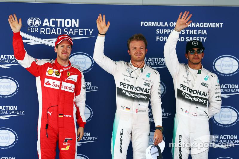Sebastian Vettel, Ferrari, en Nico Rosberg en Lewis Hamilton, Mercedes AMG F1