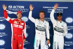 Sebastian Vettel, Ferrari and Nico Rosberg and Lewis Hamilton, Mercedes AMG F2