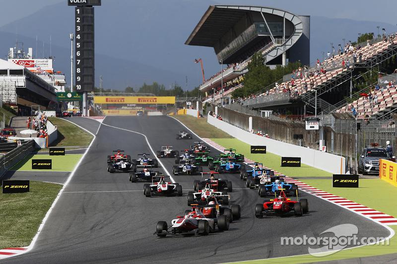 Start: Esteban Ocon, ART Grand Prix, vor Luca Ghiotto, Trident, und Emil Bernstorff, Arden Internati