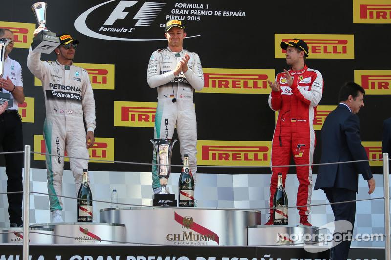 Lewis Hamilton, Mercedes AMG F1 Team; Nico Rosberg, Mercedes AMG F1 Team, und Sebastian Vettel, Scuderia Ferrari
