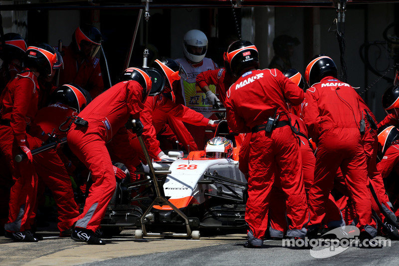 Will Stevens, Manor F1 Team, beim Boxenstopp