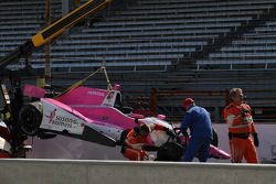 The crashed car of Pippa Mann, Dale Coyne Racing Honda