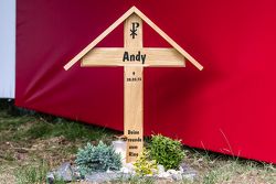 "Memorial at Flugplatz for ""Andy"", the spectator who tragically lost his life during the VLN race on March 28, 2015"