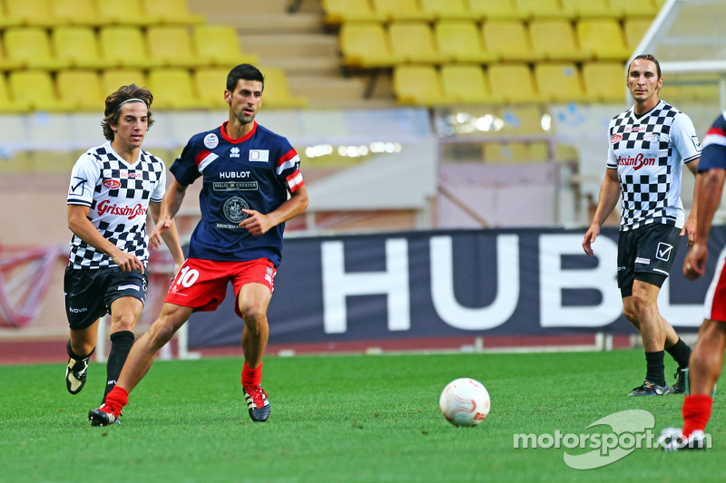 Roberto Merhi Manor F1 Team and Novak Djokovic Tennis Player at the charity football match