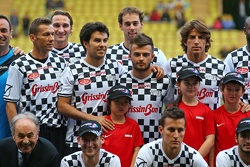 (L to R): Sergio Perez Sahara Force India F1; Will Stevens Manor F1 Team; and Roberto Merhi Manor F1 Team at the charity football match