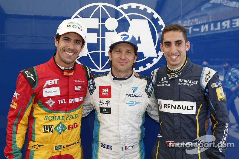 Polesitter Jarno Trulli with Lucas di Grassi and Sébastien Buemi