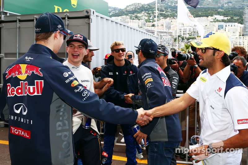 (Von links nach rechts): Daniil Kvyat, Red Bull Racing, Max Verstappen, Scuderia Toro Rosso, und Felipe Nasr, Sauber F1 Team