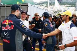 (L to R): Daniil Kvyat, Red Bull Racing; Max Verstappen, Scuderia Toro Rosso and Felipe Nasr, Sauber F1 Team