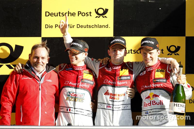 Podium: 2. Edoardo Mortara, Audi Sport Team Abt, Audi RS 5 DTM; 1. Jamie Green, Audi Sport Team Rosberg, Audi RS 5 DTM, und 3. Mattias Ekström, Audi Sport Team Abt Sportsline, Audi A5 DTM
