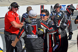 Roush Fenway Racing crew celebrates Buescher's win