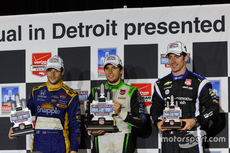 Podium: 1. Carlos Munoz, Andretti Autosport, Honda; 2. Marco Andretti, Andretti Autosport, Honda, und 3. Simon Pagenaud, Team Penske, Chevrolet
