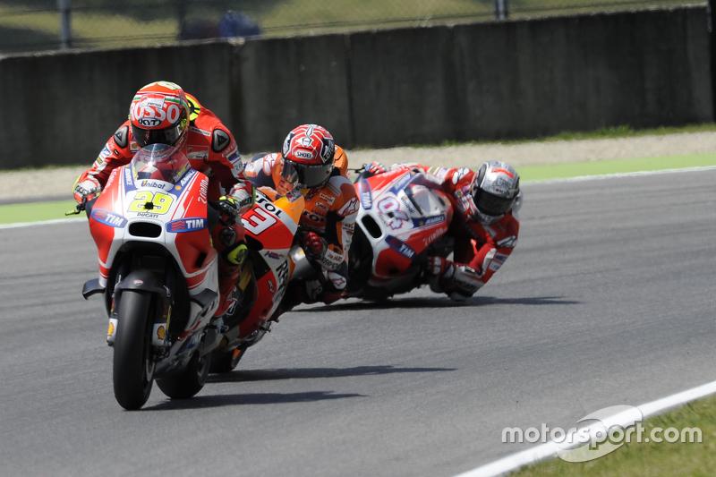 Andrea Iannone, Ducati Team dan Marc Marquez, Repsol Honda Team dan Andrea Dovizioso, Ducati Team