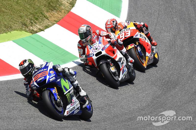 Jorge Lorenzo, Yamaha Factory Racing; Andrea Dovizioso, Ducati Team, und Marc Marquez, Repsol Honda Team