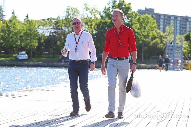 Martin Brundle, Sky-Experte, mit David Coulthard, Berater Red Bull Racing und Scuderia Toro / BBC-Ex